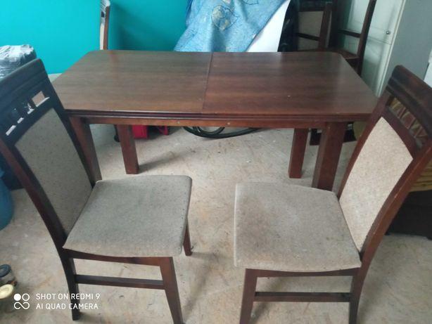 komplet stół rozsuwany, 6 krzeseł