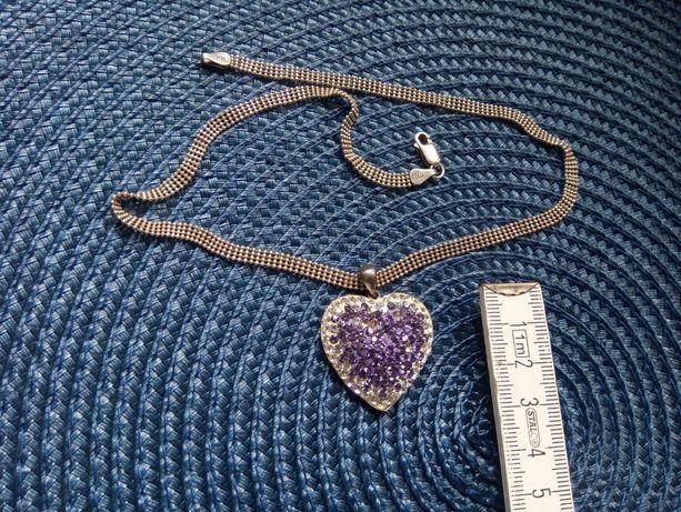 Srebrny gruby łańcuszek ze srebrnym sercem cyrkonie. Piękny ! Unikat
