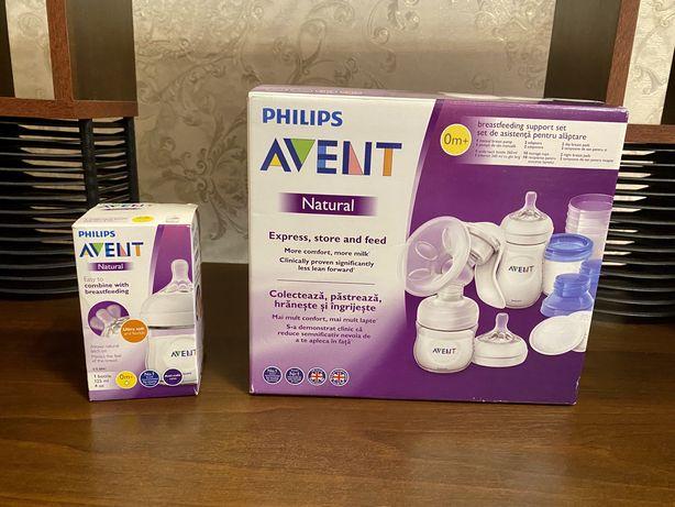 Молокоотсос с набором для хранения phillips avent natural