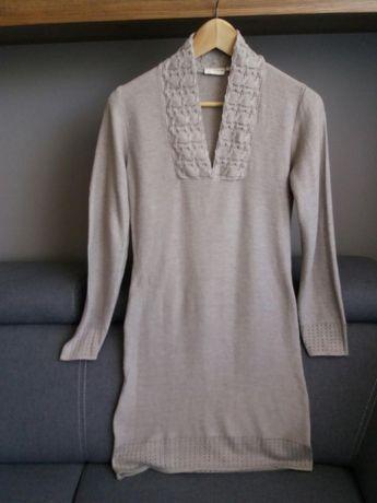 Włoski sweter - tunika beżowa firmy FRANSA rozm S
