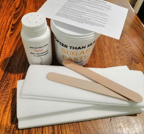 Набор для шугаринга ТМ SofterThanSilk паста тальк 2шпателя 50 полосок