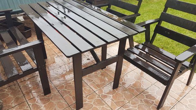 Meble ogrodowe drewniane stół ławka 2 fotele