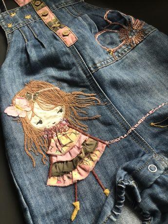Комбез джинсовый на девочку 12-18мес(рост86см)