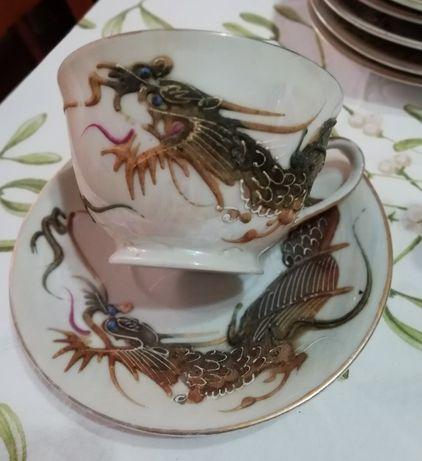 serviço de chá dragão pintado á mão