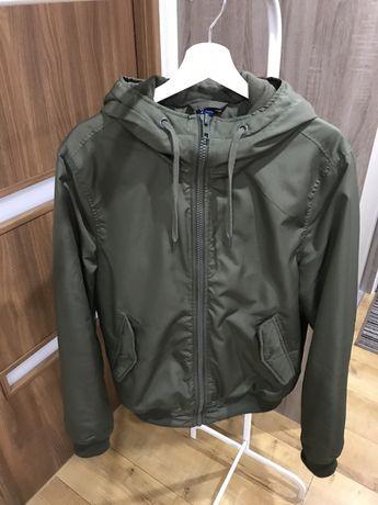 H&M M kurtka zimowa ciepła khaki ściągacze kaptur
