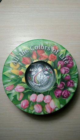"Серебряная монета ""Все краски жизни"" 500 франков, кач-во пруф."