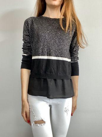 Sweterek czarny blyszczacy xs s