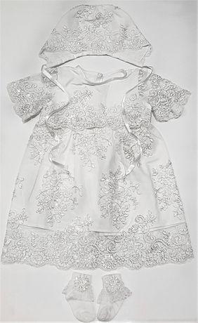 Набор для крещения девочки платье детское белое крестильный комплект