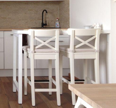 Barek kuchenny biały połysk STÓŁ mocowany do ściany do kuchni