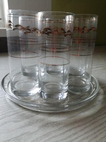 Komplet wysokich szklanek ze złoceniem - 6 szt