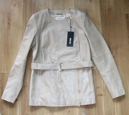 OCHNIK skora OWCZA skórzana kurtka bezowa ramoneska xs 34 s 36 plaszcz