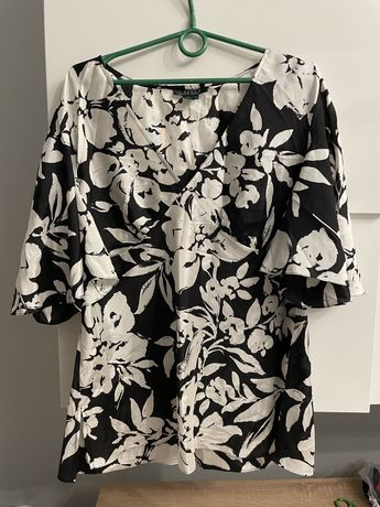 Bluzka damska Ralph Lauren XL kwiaty jedwabna czarna biała
