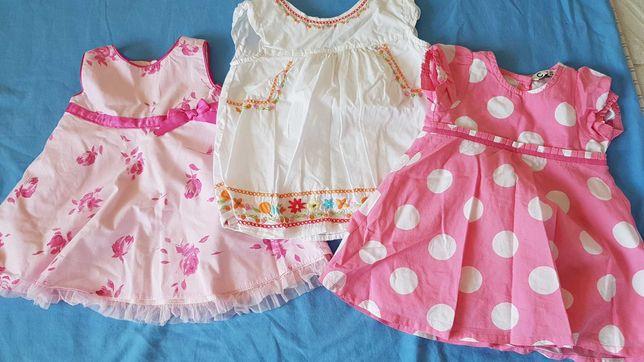 Letnia paka ubrań dziewczęcych, sukienki, spodenki bluzki 62-68