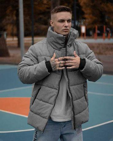 Зимний мужской серый пуховик Тёплая чёрная куртка чоловіча OVERSIZE