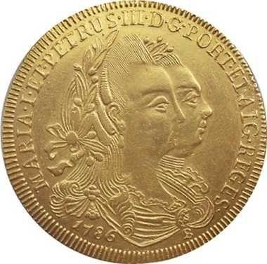 Moeda de ouro Brasil - Peça D. Maria I e D. Pedro III 1786 B