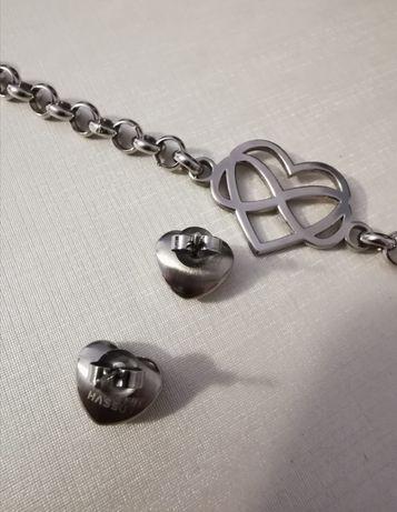 Pulseira e brincos em prata