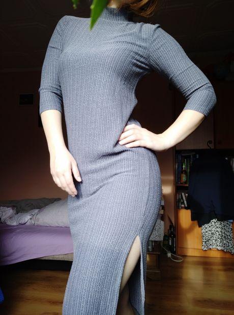 Jacqueline de young szara sukienka dzianinowa prążkowana JDY nowa