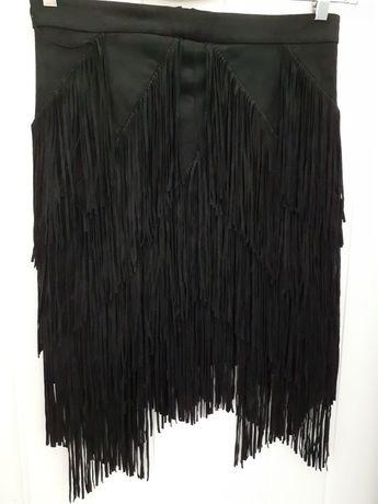 Spódnica czarna zamszowa z frędzlami ZARA  rozm.38