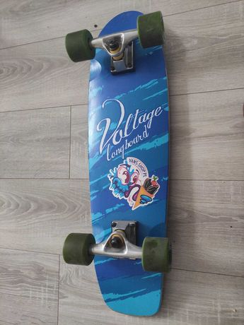 Deskorolka longboard  Voltage Graffiti Logo Blue