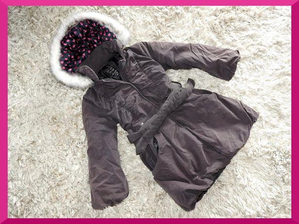 6-7 lat zimowy ciepły PŁASZCZYK kurtka z futerkiem pikowany