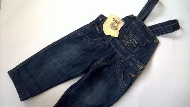 Spodnie jeans ogrodniczki szelki 98