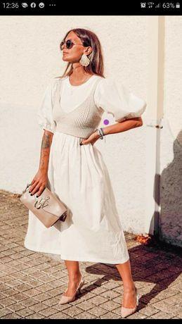 Zara sukienka biala blogerska