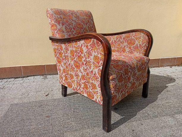 fotel antyk drewniany tapicerowany tron gabinetowy