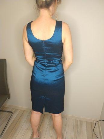 Sukienka ołówkowa roz. 38 M morska midi