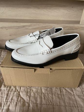 Nowe skórzane białe buty mokasyny ZARA 42