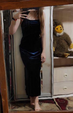 Длинное бархатное платье. Размер s