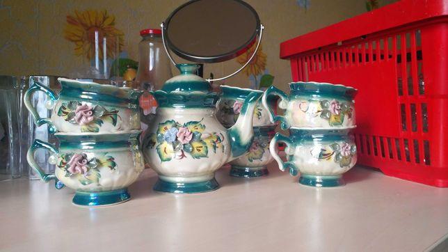 Сервиз из чашечек 6шт+заварничек, керамика