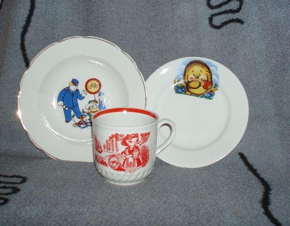Детская посуда фарфор клеймо 3 предмета чашка тарелка клеймо цена