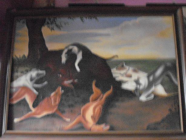 obraz olejny myśliwski
