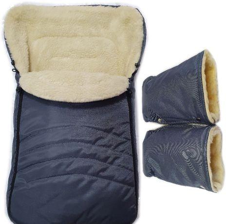 Акция! Комплект зимний на овчине: конверт и рукавицы. Новые