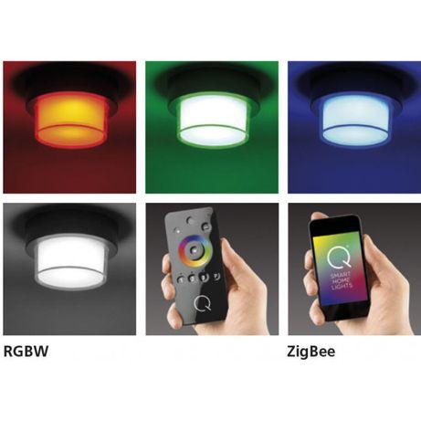 Nowoczesny czarny plafon LED RGB pilot smartfo Paul Neuhau Q-ERIC IP65