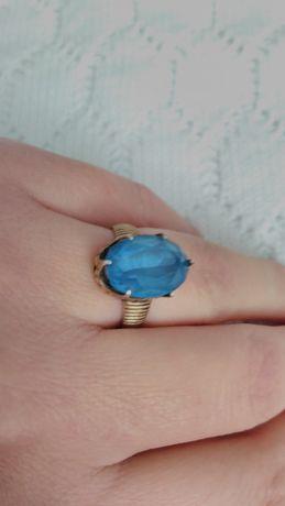 Кольцо срібне часів СССР. 875 проба, зірочка + Камінь блакитний