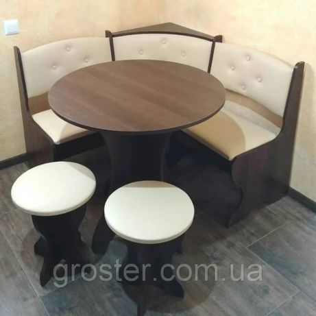 Кухонный уголок Боярин с круглым столом +2табурета