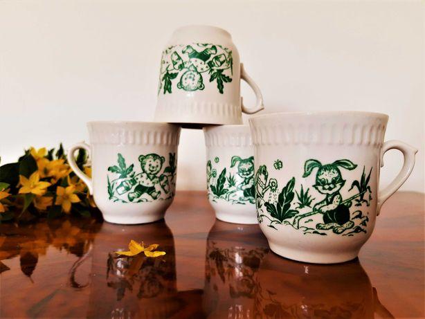 Kubek Kubki Gorodnitsky Porcelana Ukraina Złoty Zielony Vintage Retro