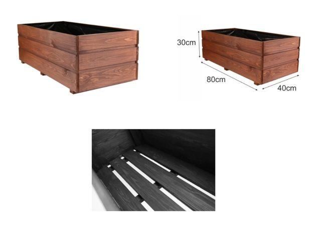 Donica ogrodowa drewniana 80x40x30 cm