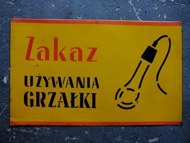 Stara tablica ostrzegawcza PRL BHP - 6 sztuk JAK NOWE! Oryginał!