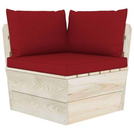 vidaXL Almofadões para sofá de paletes 3 pcs tecido vermelho tinto 315073