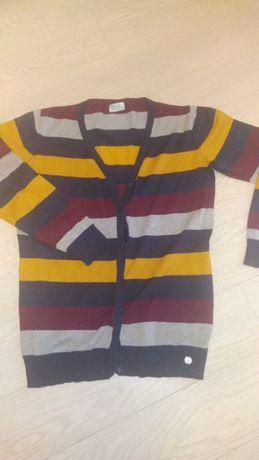 Sweter kardigan damski w kolorowe pasy M