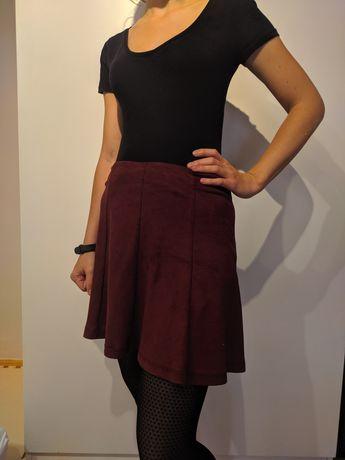 Spódniczka spódnica mini bordo czerwona ala zamsz