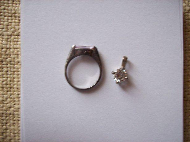 pierścionek i zawieszka srebro