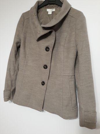H&M płaszcz krótki kurtka zimowa beżowa rozm 34 XS pasuje na 36 S BDB