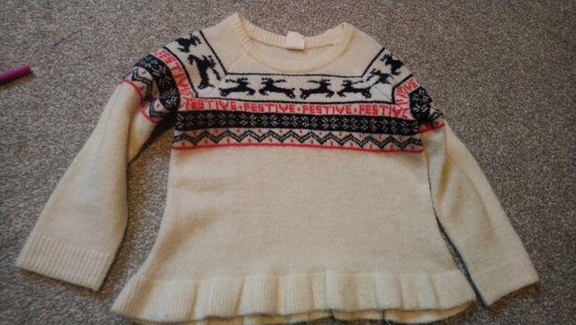 Sweter sweterek świąteczny renifery sesja święta H&M rozmiar 86/92