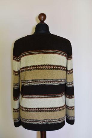 luźny sweter w jesienne kolory, rozmiar 40