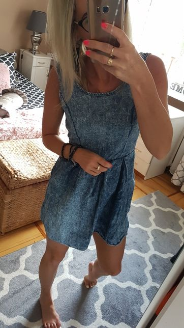 Sukienka jeasnowa niebieska na lato bombka 36