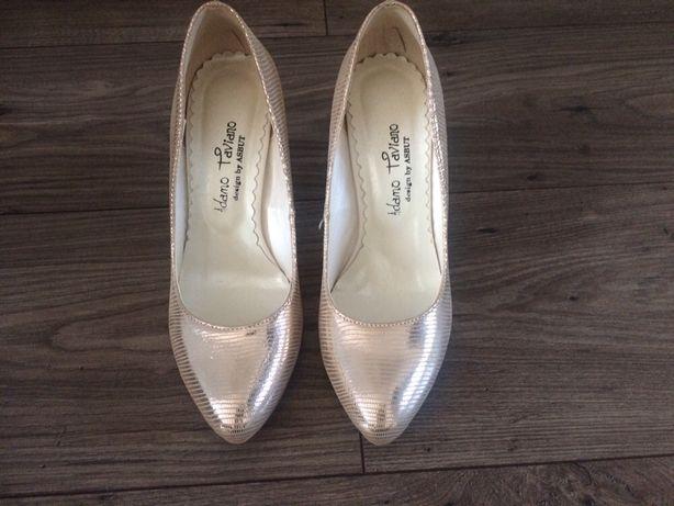Buty ślubne, na poprawiny, rozmiar 37, skóra, kolor złoty