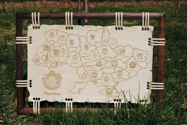 Карта Украины На Замше, Подарок, Картина На Стену, Декор